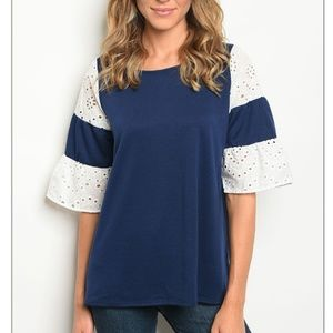 Tops - Navy Bell Sleeve Blouse